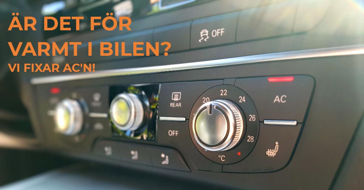 Vi fyller på och servar AC i din bil. Vi lagar ac'n om den är trasig.