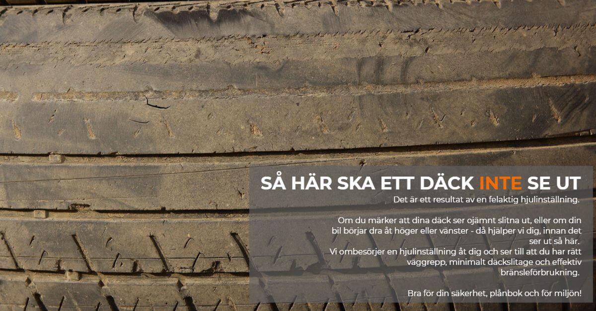 Så här ska ett däck inte se ut. Vi hjälper dig med hjulinställning om däcken börjar bli snedslitna eller bilen börjat dra åt något håll.